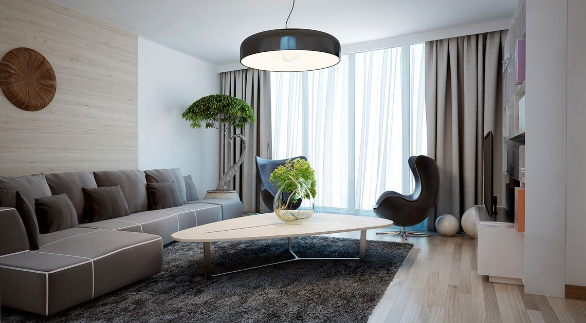 Modern room with drapery